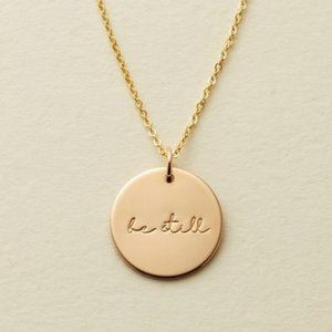 NEW ''Be Still'' Gold Coin Disc Charm Necklace